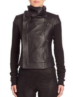 Rick Owens - Leather & Wool Biker Jacket