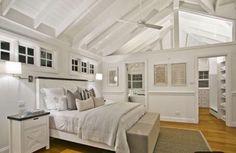 Hamptons raked Ceiling exposed beams main master bedroom