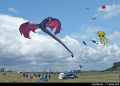 Dragon kite by nick. Little Fun - all about humor and fun! Go Fly A Kite, Kite Flying, Dragon Kite, Recreational Activities, Kites, Clouds, Swings, Cool Stuff, Fun