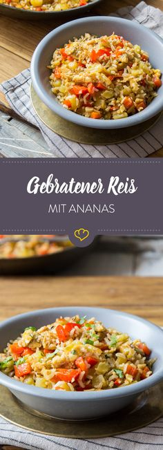 Gebratener Reis mit fruchtiger Ananas Still rice from the previous day left? Roasted with egg, pepper and pineapple, you add new flavors to the grains. Quick Vegan Meals, Quick Dinner Recipes, Vegan Recipes Easy, Veggie Recipes, Asian Recipes, Vegetarian Recipes, Easy Meals, Ethnic Recipes, Go Veggie