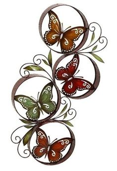 Modern Hand-painted Goldtone Red Metal Butterfly Wall Art Home Decor Accent Fun #Modern