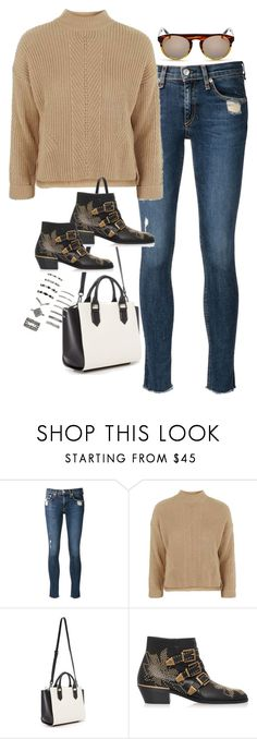 """Sin título #5493"" by marianaxmadriz ❤ liked on Polyvore featuring rag & bone/JEAN, Topshop, Kendall + Kylie, Chloé and Forever 21"