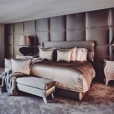 luxury modern bedroom. velvet and silk bedding available DesignNashville.com free custom designs