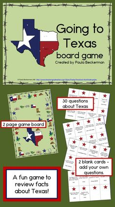 A fun way to practice Texas facts, Going to Texas is a two-page game board and 32 question cards with directions for play. Students will answer questions about Texas history, geography and symbols to move along the path to Texas. $