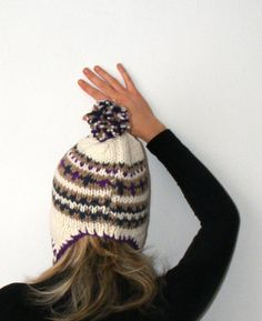 FREE SHIPPING  PomPom Ear Flap Hat32012 crochet by seno on Etsy, $35.00