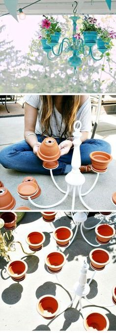 DIY Chandelier Planter: Repurpose the old chandelier to make this awesome planter and add more beauty to your backyard!