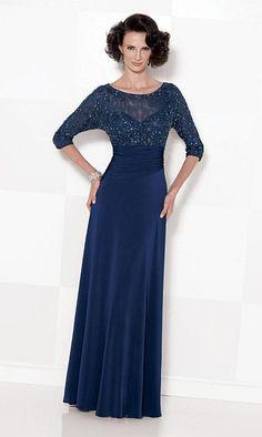 Cameron Blake 114658 Matte Jersey MOB Dress with Illusion