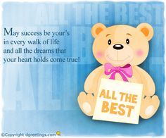 Dgreetings - Send your best wishes to your dear ones in this exams session's by sending this card. Exam Good Luck Quotes, Exam Wishes Good Luck, Best Wishes For Exam, Good Luck For Exams, Good Wishes Quotes, All The Best Wishes, Exam Quotes, Happy Birthday Wishes Quotes, Good Luck Cards