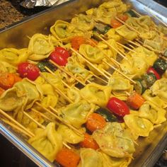 Love this idea, tortellini, I'd make pesto  to coat them and add kalamata olives...