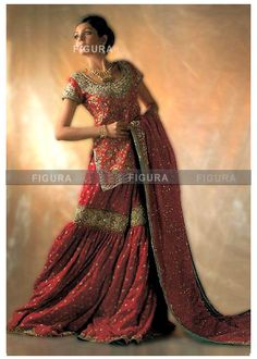 red separate bridal gharara with golden heavy emboidery
