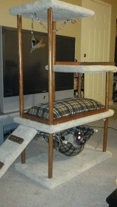 Russian Blue Cats Long Hair cat tower DIY-- You could definitely make it look cuter than this but using old tables is a good idea! Diy Cat Tower, Cat Towers, Cat Shelves, Cat Enclosure, Cat Room, Cat Condo, Pet Furniture, Blue Cats, Pet Beds