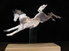 smoke fired horse sculpture