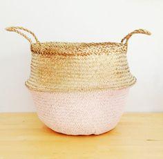Metallic Gold and Salmon Pink Sea Grass Belly Basket Panier Boule Storage Nursery Beach Picnic Toy Laundry