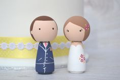 Custom Kokeshi Peg Doll Wedding Cake Toppers by MyPegFriends