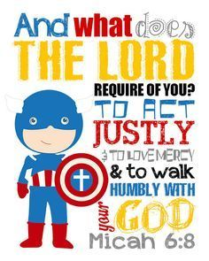 Please read entire description before purchase :) Micah Bible Verse. Seek Justice, Love Mercy, Walk Humbly with your God. Superhero Wall Art, Vacation Bible School, Boy Decor, Christian Wall Art, Kids Church, Digital Scrapbook Paper, Kids Bedroom, Bedroom Ideas, Just In Case