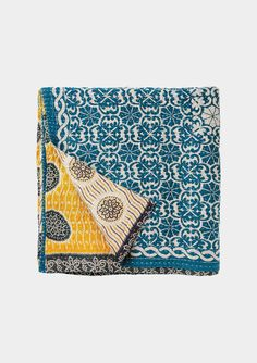 CHIRALI BEDSPREAD   £195.00  Artisan-made, block printed cotton bedspread from india. Made from layers of recycled sari fabric quilted together with running kantha stitch.