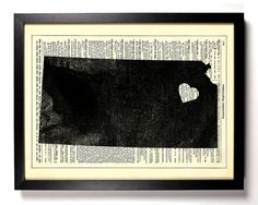 Kansas State Map print - Art work for the house ... We could do this with North Carolina