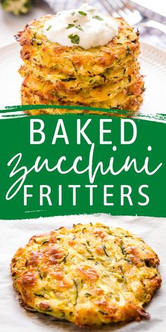 These Baked Zucchini Fritters are the perfect easy meal or snack made with fresh zucchini & cheese, and served with tzatziki - packed with flavour and a healthy choice!Recipe from thebusybaker.ca! #zucchini #bakedzucchinifritters #baked #veggie #vegetarian #fritters #easytomake #healthy #familymeal #snack via @busybakerblog Baked Zucchini Fritters, Zucchini Cheese, Bake Zucchini, Zucchini Noodles, Appetizer Recipes, Dinner Recipes, Delicious Appetizers, Healthy Appetizers, Yummy Snacks