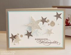 handmade Christmas Card ....kraft and white witha bit of pale blue ...  spray stars stamped or die cut from glitter paper ... pale grunge stamping background  ... Stampin' Up!