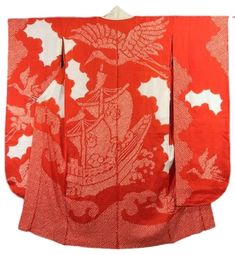 This is a vibrant red vintage Juban (undergarment) for Furisode with treasure boat on wave and flying crane pattern