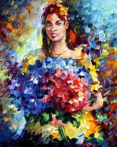 Woman with flowers - Leonid Afremov