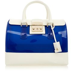 Furla Candy Blue and White Medium Tote Bag ($225) ❤ liked on Polyvore featuring bags, handbags, tote bags, blue, blue leather tote bag, medium leather tote, leather purse, handbags totes and zip top tote