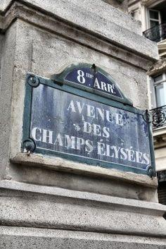 paris france champs elysees street sign