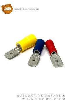 Male Push-on Blade Terminals (Red, Blue, Yellow) - (Pack 100 or