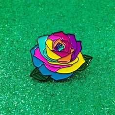 """The prettiest scientifically modified flower that ever existed. Pin by Krystan Saint Cat. 1.18""""x0.8"""". Enamel. Comes in regular, pastel with silver metal outline"""