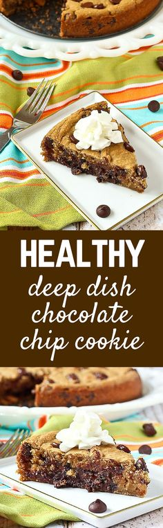 Although still a treat, this healthy chocolate chip cookie recipe is one you can feel good about! Bonus: Made in minutes in a blender AND DEEP DISH - so gooey and delicious! PS: The beans in this cookie add moisture and protein!