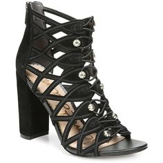 9cf0788dd34 Women s Sam Edelman Yeager Caged Sandal - Black Et Diva Suede Leather Heels