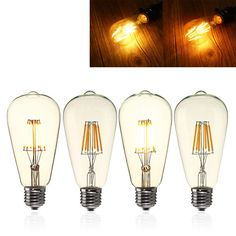 E27 ST64 6W Clear Cover Dimmable Edison Retro Vintage Filament COB LED Bulb Light Lamp AC110/220V