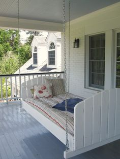 Whats better then a porch swing? A porch bed! Whats better then a porch swing? A porch bed! Whats better then a porch swing? A porch bed! Outdoor Spaces, Outdoor Living, Outdoor Sheds, Porch Bed, Porch Swings, Diy Porch, Diy Swing, Swing Beds, Hanging Beds