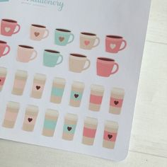 Coffee cup planner stickers, a sheet of 64 cute little coffee cups in various designs. Smaller cups 1cm in height and 1.3cm wide, larger cups
