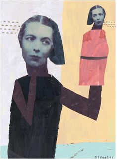 Check out the beautiful quirky collages of,KATHERINE STREETERHer works are a nice combo of paint, cut shapes and minimal...