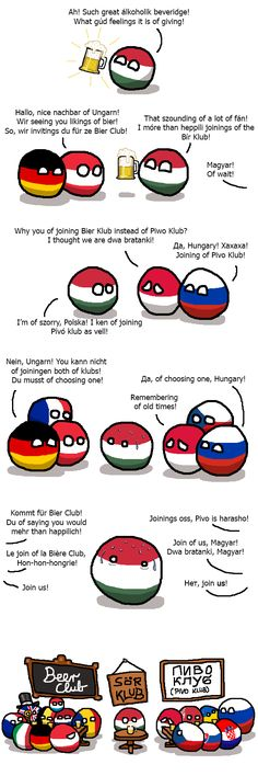 "polandball comics: ""Hungary joins the Beer Club "" Két szék között a pad alá"