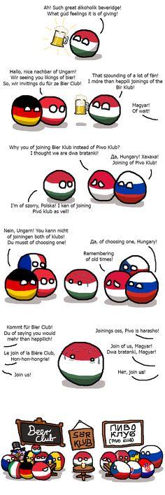 """polandballcomics: """"Hungary joins the Beer Club """" Két szék között a pad alá"""