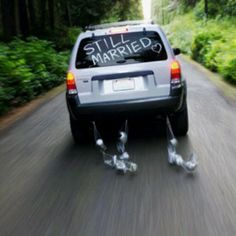 Pimp out the car like they were just married.  Couple drives away from anniversary party.