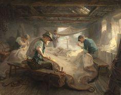 Ralph Hedley (1848-1913)  The Sail Loft, 1908  Óleo sobre lienzo  Dada la señorita Wilson, 1940 Estos hombres son fabricantes de vela