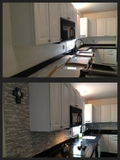 Backsplash before and after: white cabinets, black granite countertops with glass and white marble tile. Kitchen Soffit, Refacing Kitchen Cabinets, Cabinet Refacing, Kitchen Backsplash, White Cabinets, Stone Backsplash, Backsplash Ideas, Small Kitchen Floor Plans, Black Granite Countertops