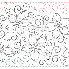 Flower Embroidery Pattern - Description 1 row = inches The twining vine and flowers in Clematis will make your machine quilting project pop! This is the paper version of the pattern. Quilting Stencils, Quilting Templates, Longarm Quilting, Free Motion Quilting, Quilting Projects, Quilting Ideas, Machine Quilting Patterns, Quilt Patterns, Paper Embroidery