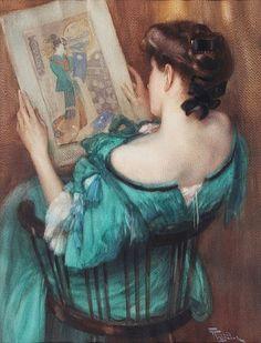 Fernand Toussaint (Belgian artist, 1873-1955) Woman Admiring Japanese Print