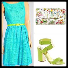 """NWOT TURQUOISE & LIME EYELET DRESS NWOT. PERFECT SPRING DRESS!  BRIGHT TURQUOISE DRESS WITH LIME GREEN LINING. . OPEN BACK WITH ZIPPER.  HAS LIME GREEN BELT.  LENGTH: 36""""  75% COTTON 25% NYLON. LINING 100% POLYESTER Jessica Howard Dresses Midi"""