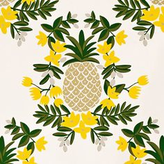 Rifle Paper Co | Pineapple Wallpaper - Yellow
