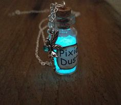 Glowing Pixie Dust with Birthstone, Personalized Glow in the Dark Tinkerbell Necklace, Magic Fairy Dust, Bottle Necklace, Pixie Dust Glitter by FishesGiveKisses