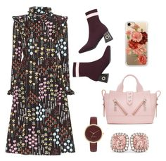 """TyS Flower in Burgundy"" by indah-eka on Polyvore featuring Valentino, Casetify, Kenzo, Nine West and Allurez"