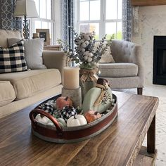 Cozy fall farmhouse living room, using buffalo check, white and muted green and orange. Farmhouse fireplace with shiplap. by deidre Fall Living Room, Christmas Living Rooms, Cozy Living Rooms, Living Room Decor, Coffee Table Decor Living Room, Farmhouse Style Kitchen, Farmhouse Style Decorating, Farmhouse Decor, Country Farmhouse