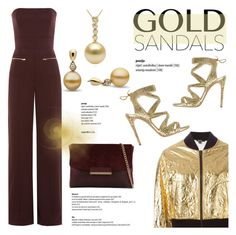 """""""Micro Trend: Solid Gold Sandals"""" by pearlparadise ❤ liked on Polyvore featuring Maison Margiela, Casadei, DKNY, ALDO, goldsandals, contestentry, pearljewelry and pearlparadise"""