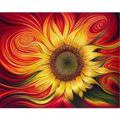 Red Sunflowers, Sunflower Flower, Flower Diy, Sunflower Canvas, Yellow Sunflower, Acrylic Paint Set, 3d Home, 5d Diamond Painting, Cross Paintings