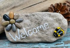 Welcome!  Bee my guest! Hand painted rock by Jools @ etsy.com/shop/BeachMemoriesByJools